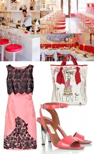 Sweetie Pie Restaurant NYC Lanvin patent mirrored heeled sandals Erdem black lace embellished shift salmon pink silk organza Lanvin anniversary canvas tote