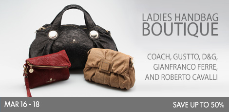 Beyond the Rack Ladies handbag boutique Coach, Gustto, D&G, Gianfranco Ferre and Roberto Cavalli