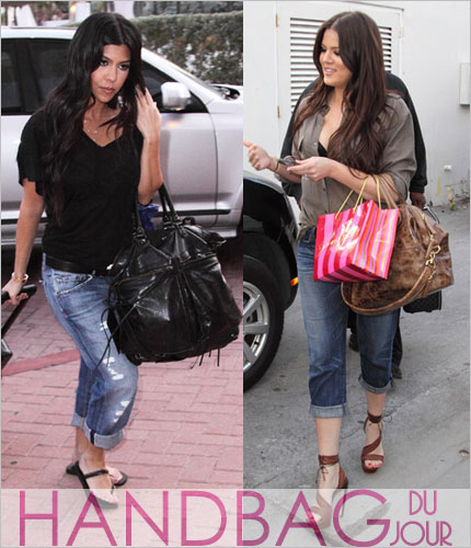 Kourtney and Khloe Kardashian Balenciaga Arena Classic Pompon Givenchy Wrinkled Nightingale