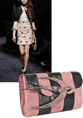 Haute off the runway Miu Miu  Bird suede and python clutch