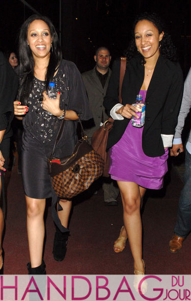 Tia and Tamera Mowry out and about with Damier Ebene Canvas Louis Vuitton hobo