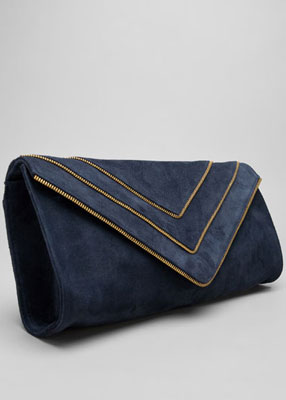 Bag it: J.J. Winters Zippers Envelope Clutch navy suede