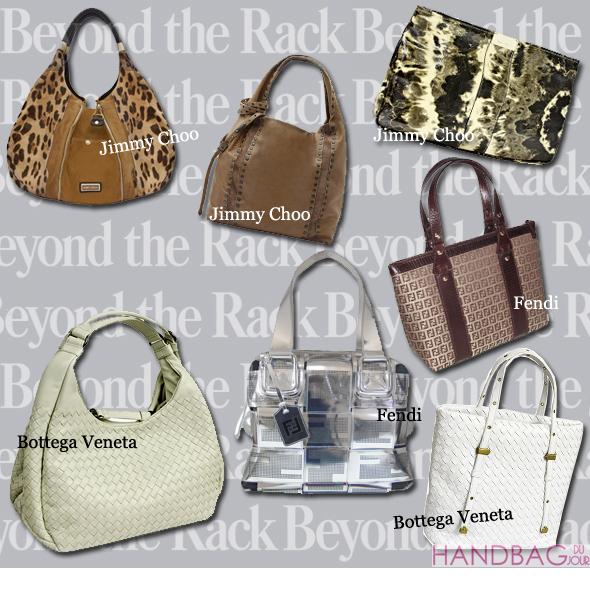 EXCLUSIVE: Get a sneak peek at tomorrow's handbag sale at Beyond the Rack featuring bags from Jimmy Choo, Bottega Veneta, Fendi and Tod's