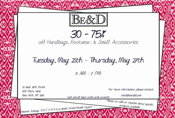 Shop it: the Be & D sample sale