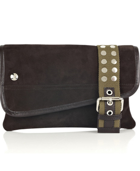 Giuseppe Zanotti Belt-detail suede clutch Studded canvas sandals
