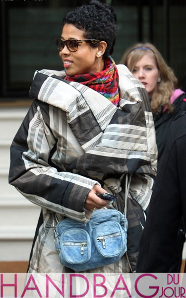 Kelis takes fashion risks with the Alexander Wang Brenda bag in denim suede