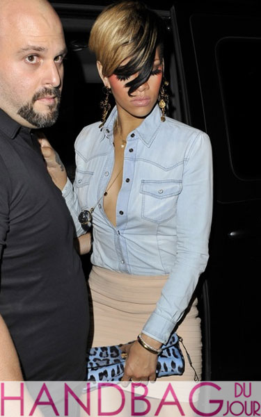 Rihanna Mahiki Club last night in London after performing in her 'Last Girl On Earth' tour at O2 Arena Partying til 4 am best friend Melissa blue leopard clutch