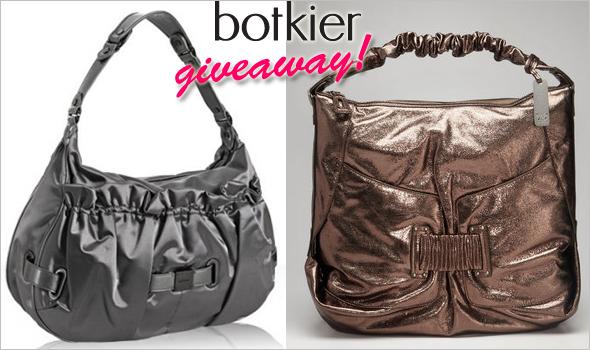 Handbag du Jour Twitter & Facebook giveaway - Botkier 'Jaden' in metallic bronze and 'Stevie' silver nylon sateen patent leather hobos