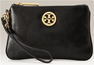 Tory Burch Logo Wristlet black leather
