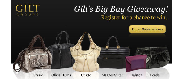 Gilt's big bag giveaway win Halston, Gryson, Olivia Harris, Gustto, Magnes Sisters and Lorelei bags