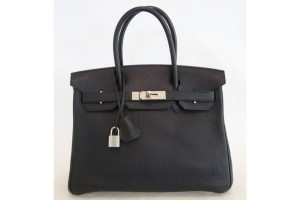 Black Togo Leather 30cm Birkin Bag with Palladium Hardware