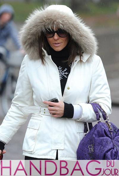 Elizabeth-Hurley-purple-quilted-handbag