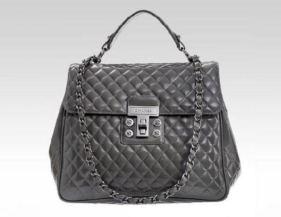 Chanel Large MADEMOISELLE Grey Patent Satchel