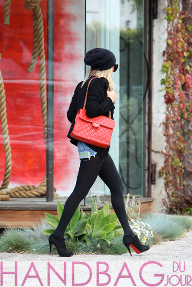Nicole Richie vintage red Chanel Classic Flap bag