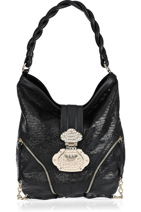 Temperley London Azania python-effect leather hobo