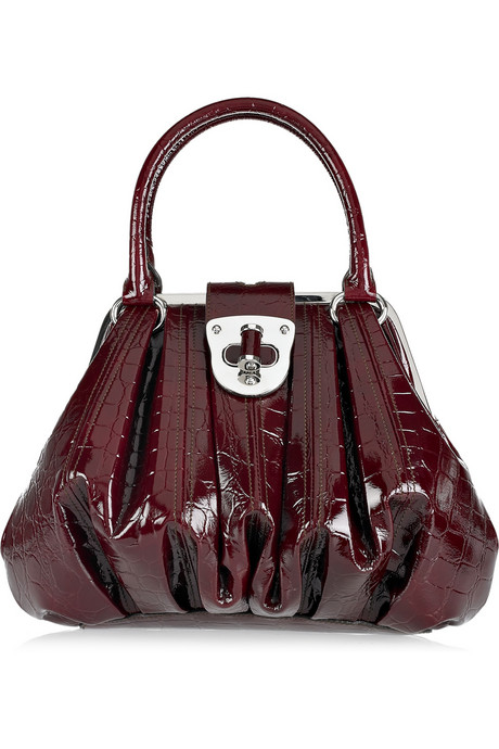 alexander mcqueen Elvie croc-print patent-leather bag