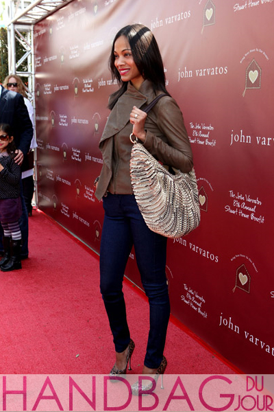 Actress Zoe Saldana attends John Varvatos 8th Annual Stuart House Benefit featuring KD Lang at John Varvatos Los Angeles on March 13, 2011 in Los Angeles, California.