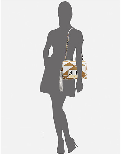 Diane von Furstenberg Harper Two-Tone Flap Shoulder Bag on model