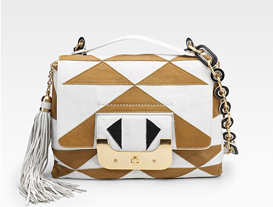 Diane von Furstenberg Harper Two-Tone Flap Shoulder Bag