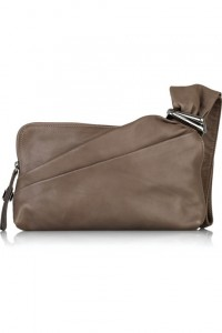 Halston Heritage Henry small leather brown clutch