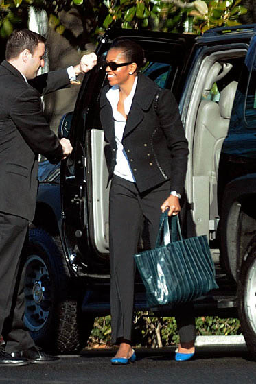 Michelle Obama with Reed Krakoff RK Ribbon Large Tote