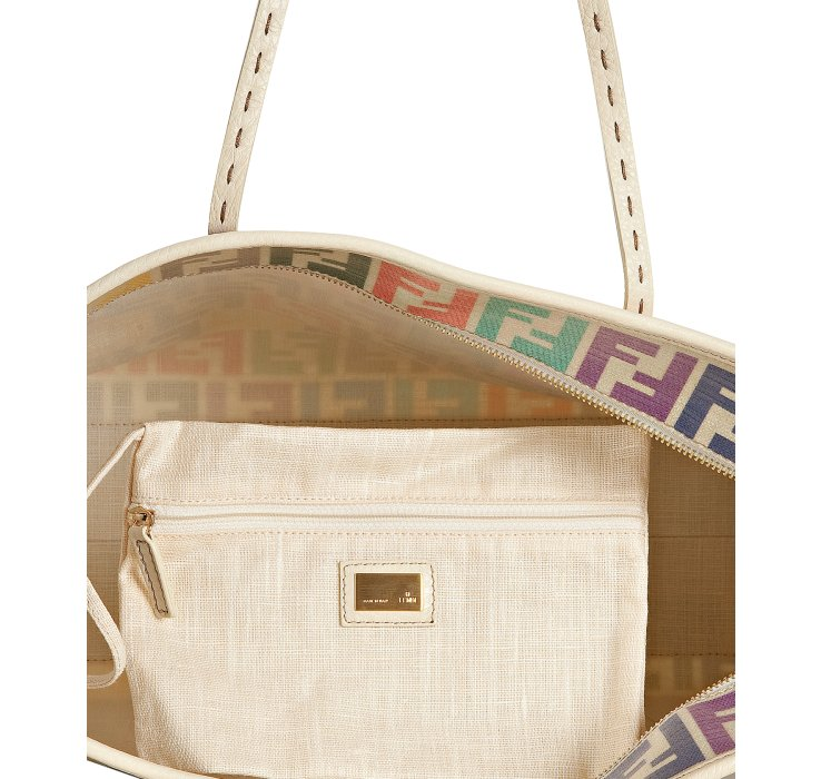 Fendi rainbow zucca laminated canvas 'Roll' tote interior with pouch