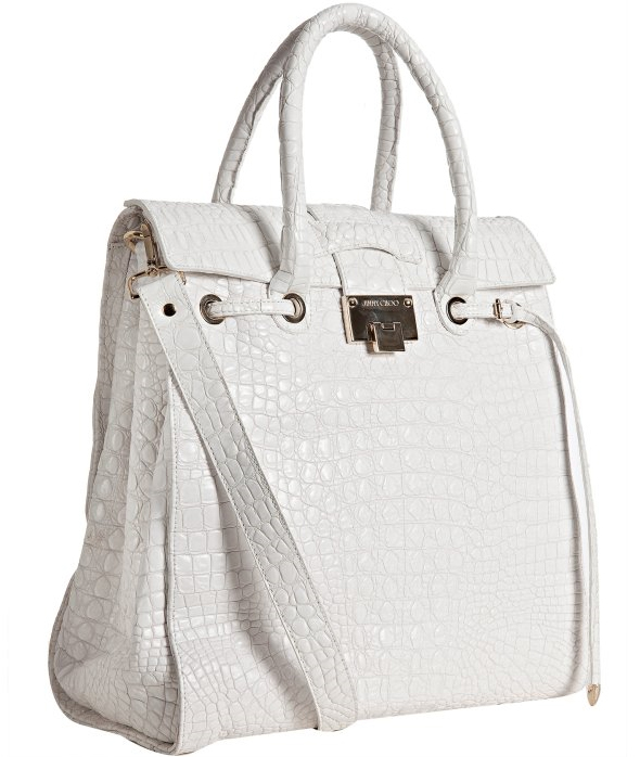 Jimmy-Choo-white-croc-embossed-leather-'Rosabel'-structured-tote-bag