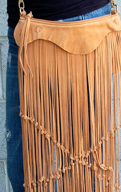 Linea Pelle Alex Suede Vintage Fringe Mini bag closeup