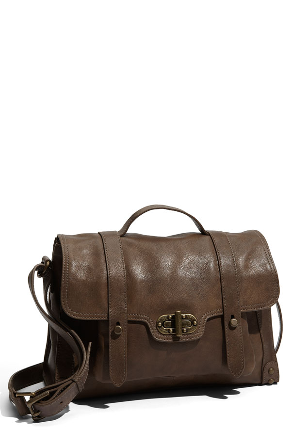 Tarnish 'Mini' Leather Turnlock Flap Satchel