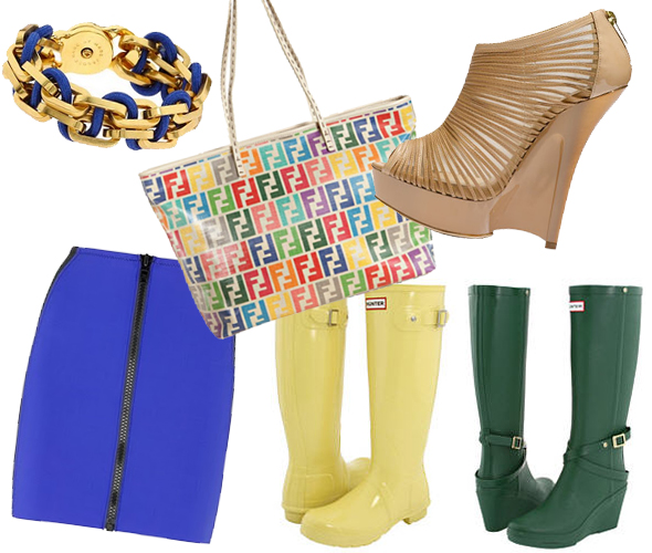 Weekly-Shopping-and-Goodies hunter wellies boots jimmy choo 'Ellie' Bootie marc by marc jacobs gold chain link and blue rope bracelet lisa marie fernandez skirt