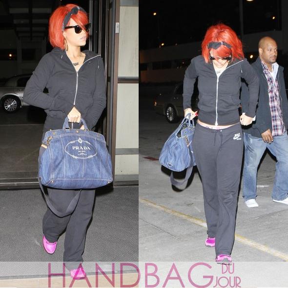 Rihanna-LAX-Prada-denim-logo-print-tote-bag-1