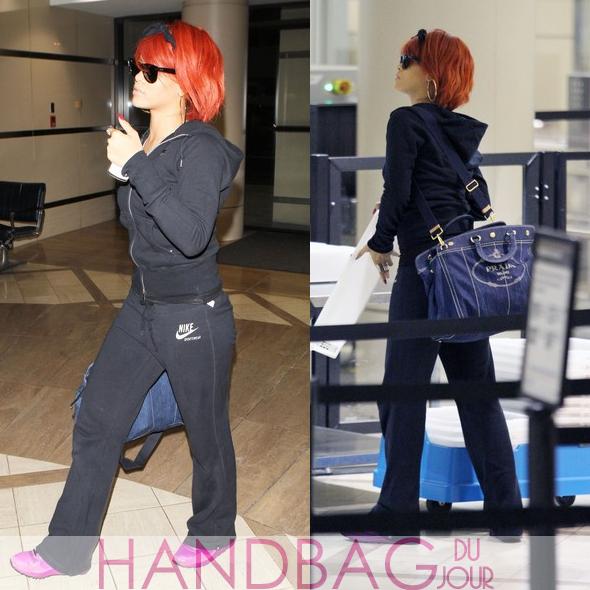 Rihanna-LAX-Prada-denim-logo-print-tote-bag-2