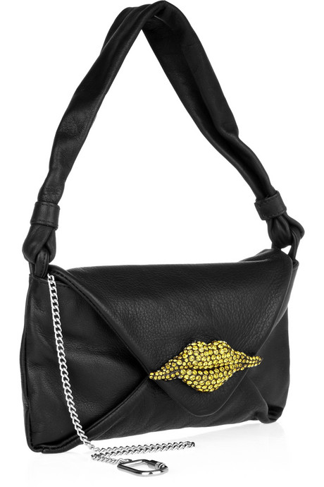 Sonia Rykiel Crystal lip-embellished leather bag side