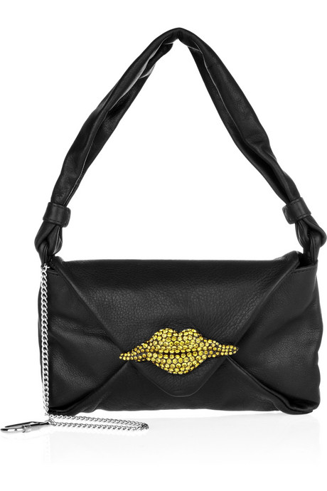 Sonia Rykiel Crystal lip-embellished leather bag