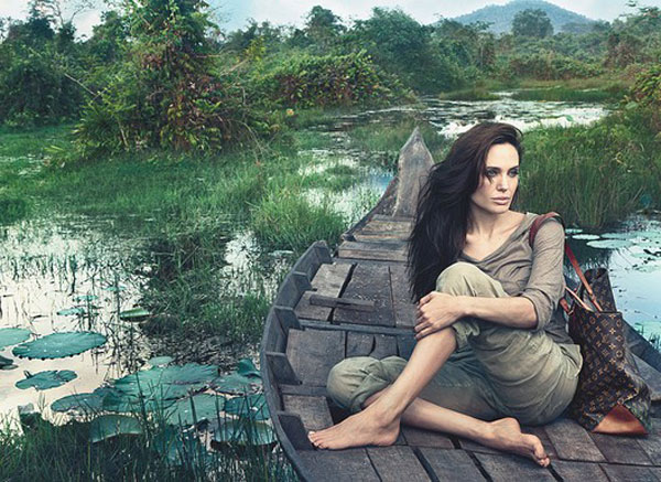 Angelina Jolie ad campaign in Cambodia Louis Vuitton monogram Alma bag