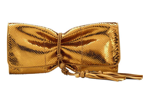 Gucci-Malika-Clutch Metallic-Gold python