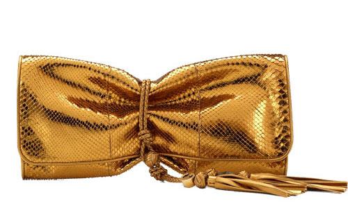 Gucci-Malika-Clutch Metallic-Gold python