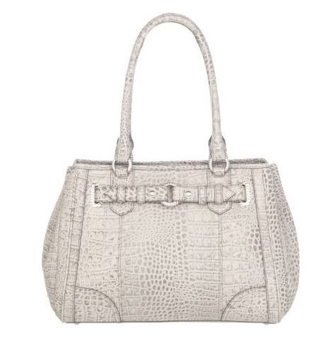 Judith Ripka Catherine Croco Embossed Leather Satchel with Top Handle QVC