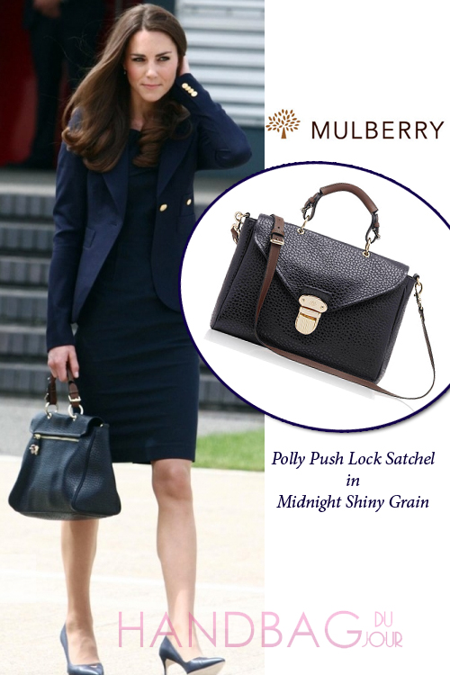 Kate-Middleton-carries-Mulberry-Polly-Push-lock-Satchel-bag-in-Midnight-Shiny-Grain duchess rocked this all navy blue ensemble of a Roland Mouret sheath dress, Smythe one-button blazer, a Mulberry Polly Push-lock bag in Midnight Shiny Grain and Manolo Blahnik heels heading to Canada for North American tour with Prince William