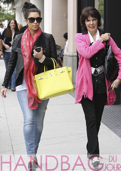 Kim-Kardashian-shopping-with-grandmother-MJ-in-Beverly-Hills acid yellow Hermes Birkin bag