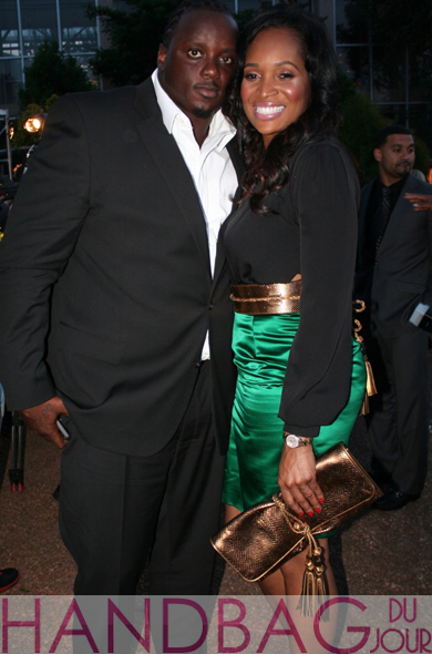 Marlo-Hampton Gucci Spring 2011 black and emerald green colorblock dress, sandals and the ever-so-popular Gucci Malika clutch Charles Grant