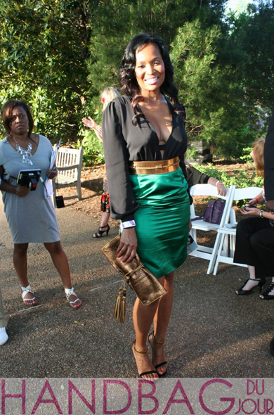 Marlo-Hampton Gucci Spring 2011 black and emerald green colorblock dress, sandals and the ever-so-popular Gucci Malika clutch