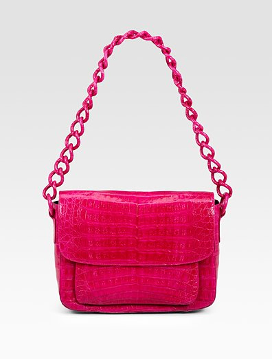 Nancy Gonzalez Crocodile Flap Chain Strap Shoulder Bag hot pink glossy