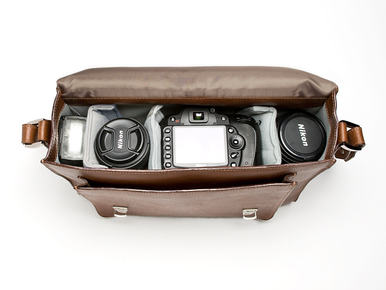 ONA Brooklyn Premium Leather Camera Satchel  inside