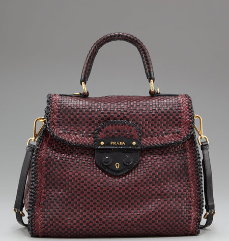 Prada-Madras-Woven-Top-Handle-Satchel-red-black