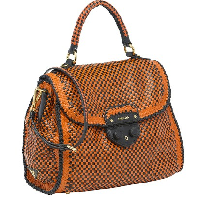 Prada Madras Woven Top-Handle Satchel orange nero