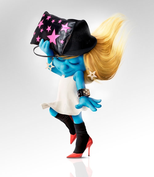 Smurfette in Dolce & Gabbana Bag, hat, earrings, cuff, and pumps