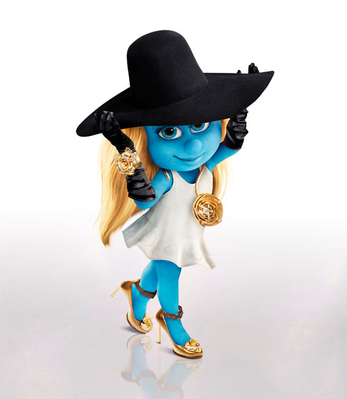 Smurfette in Lanvin Hat, gloves, cuff, necklace, and shoes