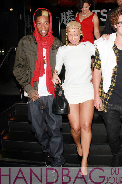 Wiz-Khalifa-Amber-Rose-chanel-bag-2 Virgin Mobile Spencer Falls and Sarah Carroll Sparah Amber white minidress Christian Louboutin Daffodile Point-Toe Platform Pumps head charm quilted drawstring Chanel bag