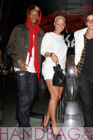 Wiz-Khalifa-Amber-Rose-chanel-bag-3 Virgin Mobile Spencer Falls and Sarah Carroll Sparah Amber white minidress Christian Louboutin Daffodile Point-Toe Platform Pumps head charm quilted drawstring Chanel bag